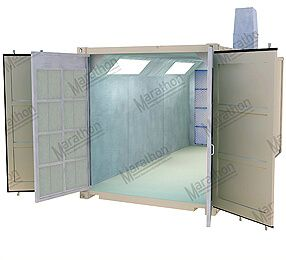 Transportable container spray booths