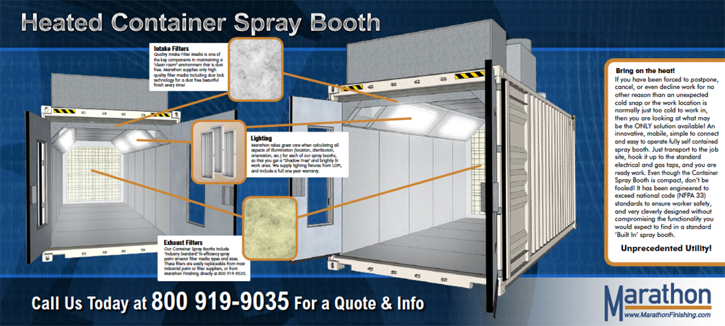 Transportable / Mobile Heated Container Spray Paint Booth